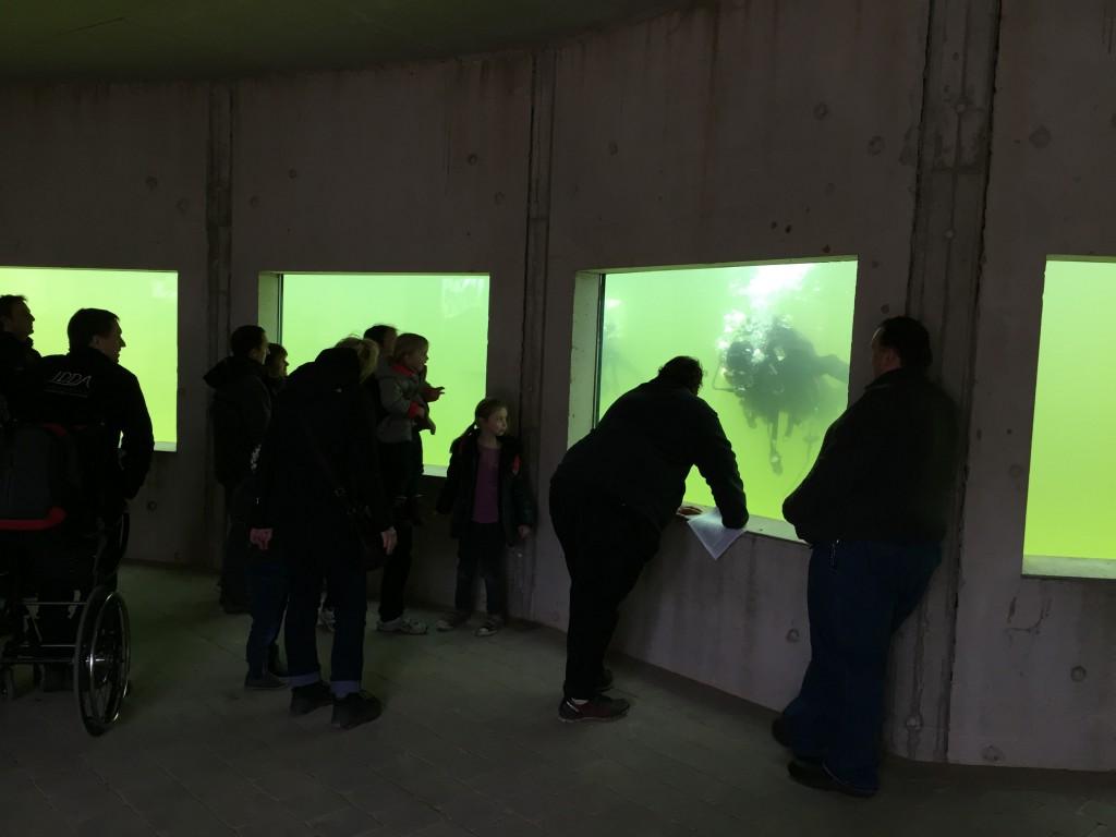 Besucher schauen zu
